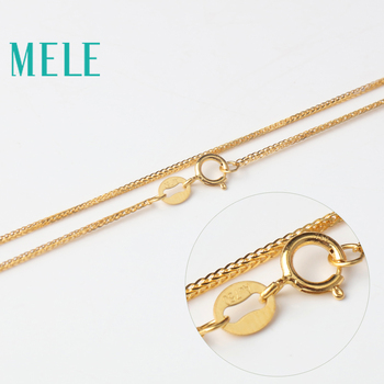 MELE real 18K gold Chopin chain for jewelry pendant,1mm yellow gold rose gold and platinum vegetarian necklace for accessories 4