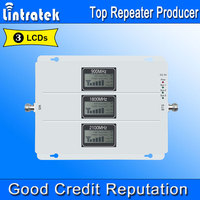 Lintratek 2G 3G 4G AGC Signal Repeater 900MHz UMTS 2100MHz LTE 1800MHz Tri Band LCDs Cell