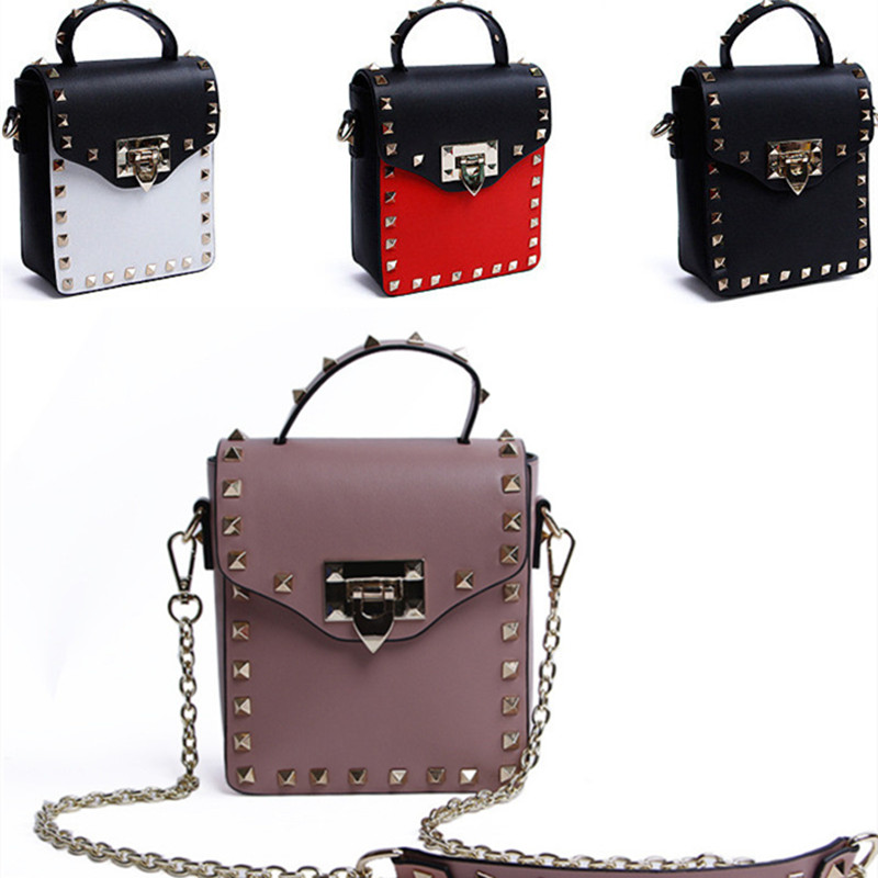 2017 Womens Las Panelled Designer Handbags Fashion Mini Rivet Flap Shoulder Messenger Bags Chain Quilted Bag Party In Crossbody From