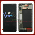Para nokia lumia 730 735 lcd display + touch screen digitalizador asamblea con marco negro + herramientas de envío gratis