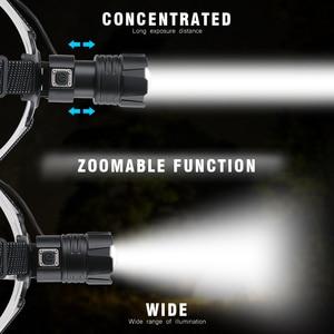 Image 2 - BORUiT XHP70.2 LED güçlü far 5000LM 3 Mode yakınlaştırma far şarj edilebilir 18650 su geçirmez baş feneri kamp avcılık için