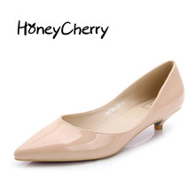 Honeycherry Mirror Low Tip Occupation font b Women b font Shoe Pointed Toe Spike Heels Fashion