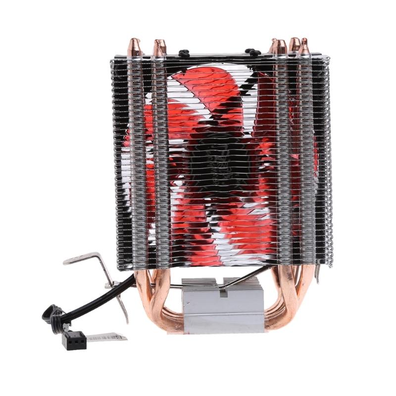4 Heatpipe 130W Red CPU Cooler 3-Pin Fan Heatsink For Intel LGA2011 AM2 754  New pccooler s90 heatpipe cpu cooler heatsink w cooling fan black red silver