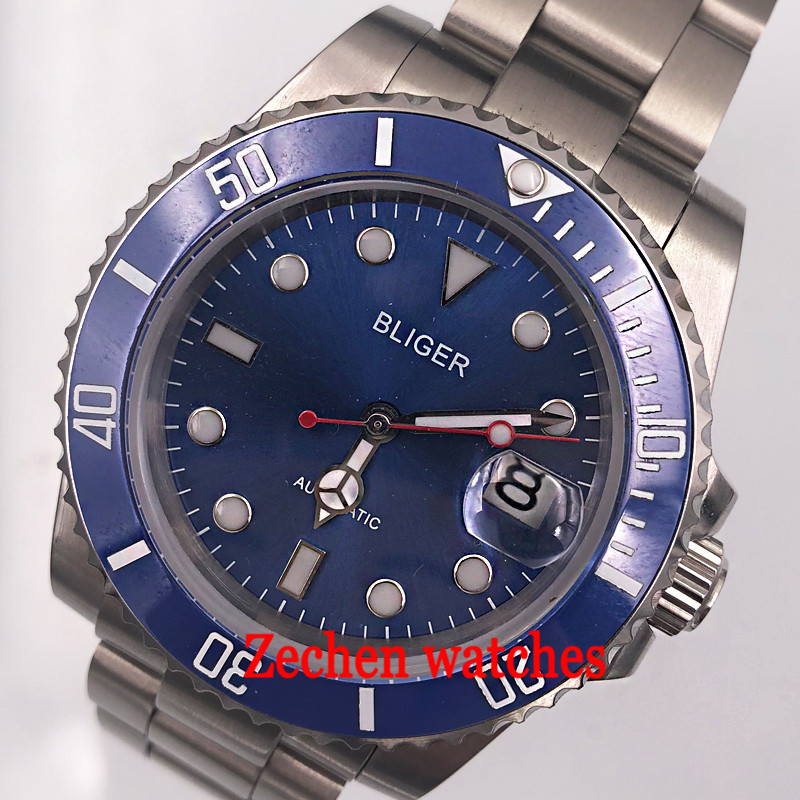 40mm Bliger blue dial blue caremic sapphire crystal mens watch sliver case automatic movement mens watch AUTO Date watch