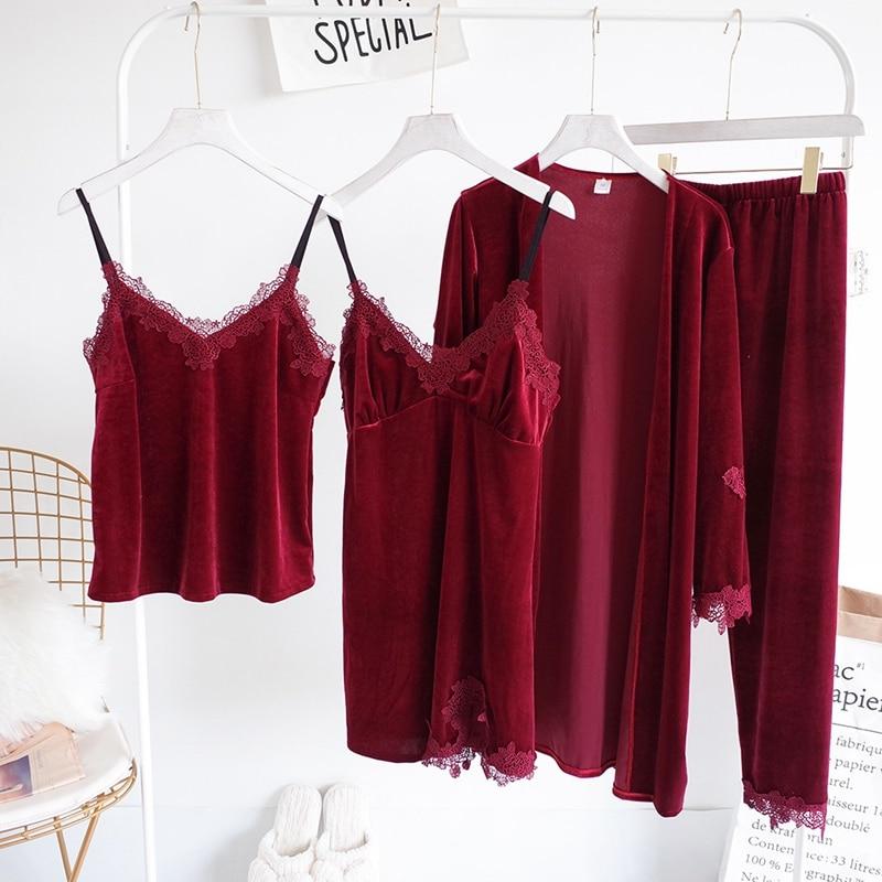 b04163a2e 4 peças Pijama de Veludo para As Mulheres Sexy Lingerie Top + Calças  Compridas + Camisola