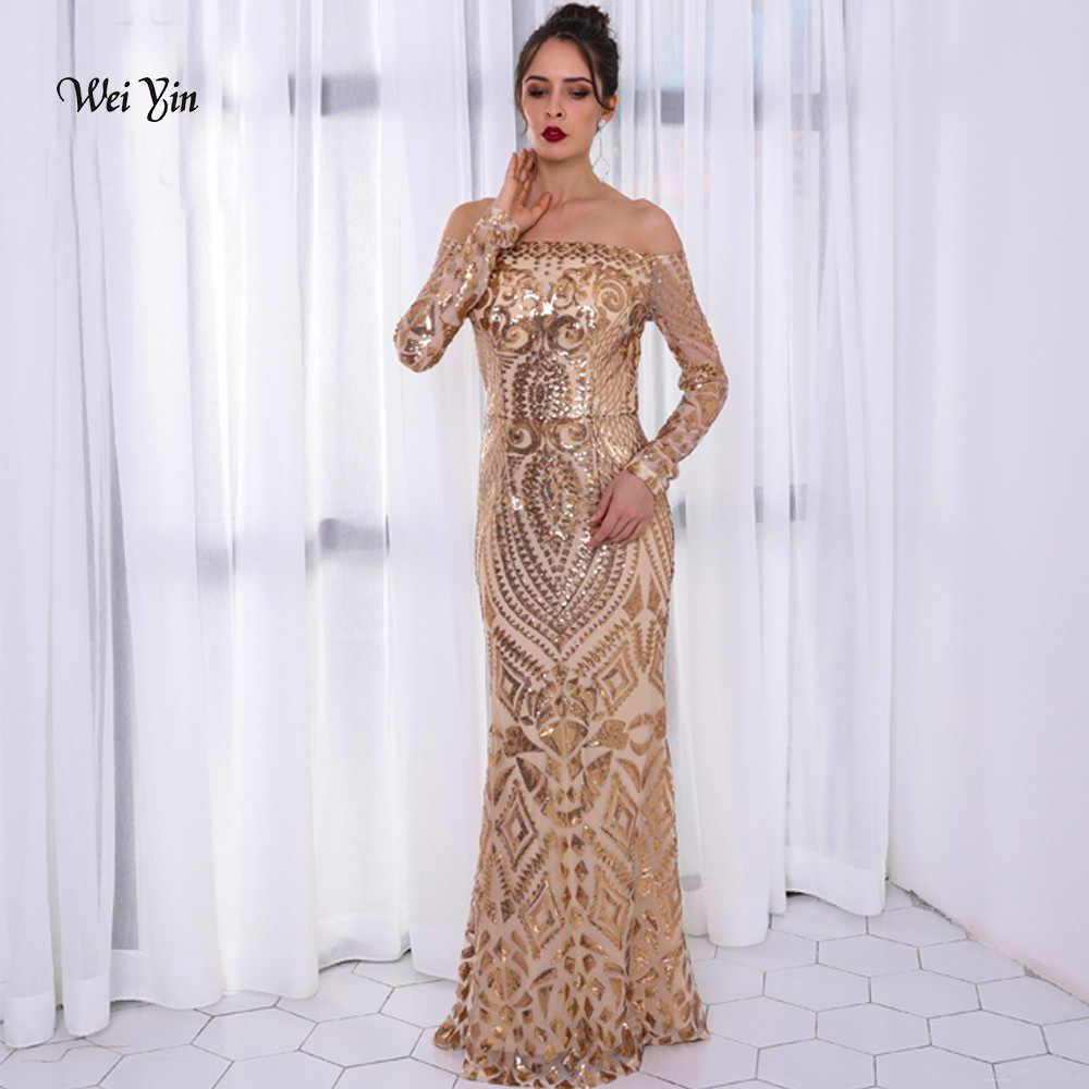 dbee43fa09eba weiyin Gold Long Sleeves Mermaid Evening Dress Off the Shoulder ...