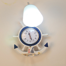 Mediterranean Clock Bedroom Wall Lighting Contemporary AC 110V-220V E27 Vintage Wall Lamp Children Room Kids Led Wall Clock