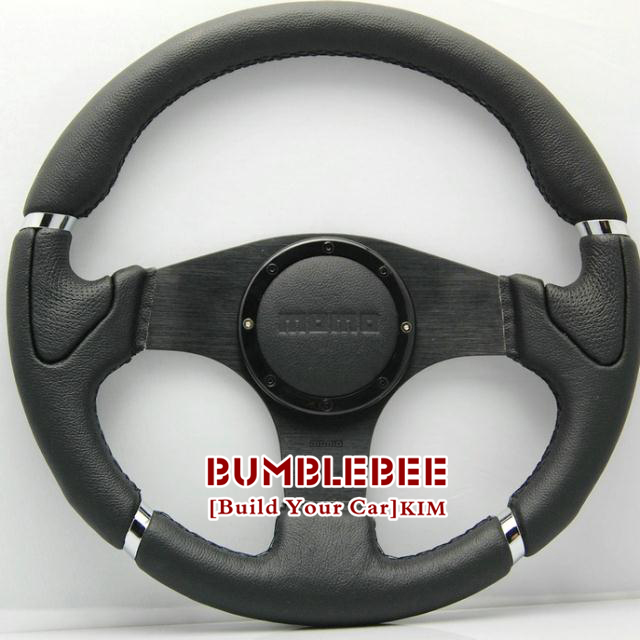 MOMO 14 inches Newest Leather Steering Wheel, Sport Racing Wheel-K063 - Car power Online Store 722192 store