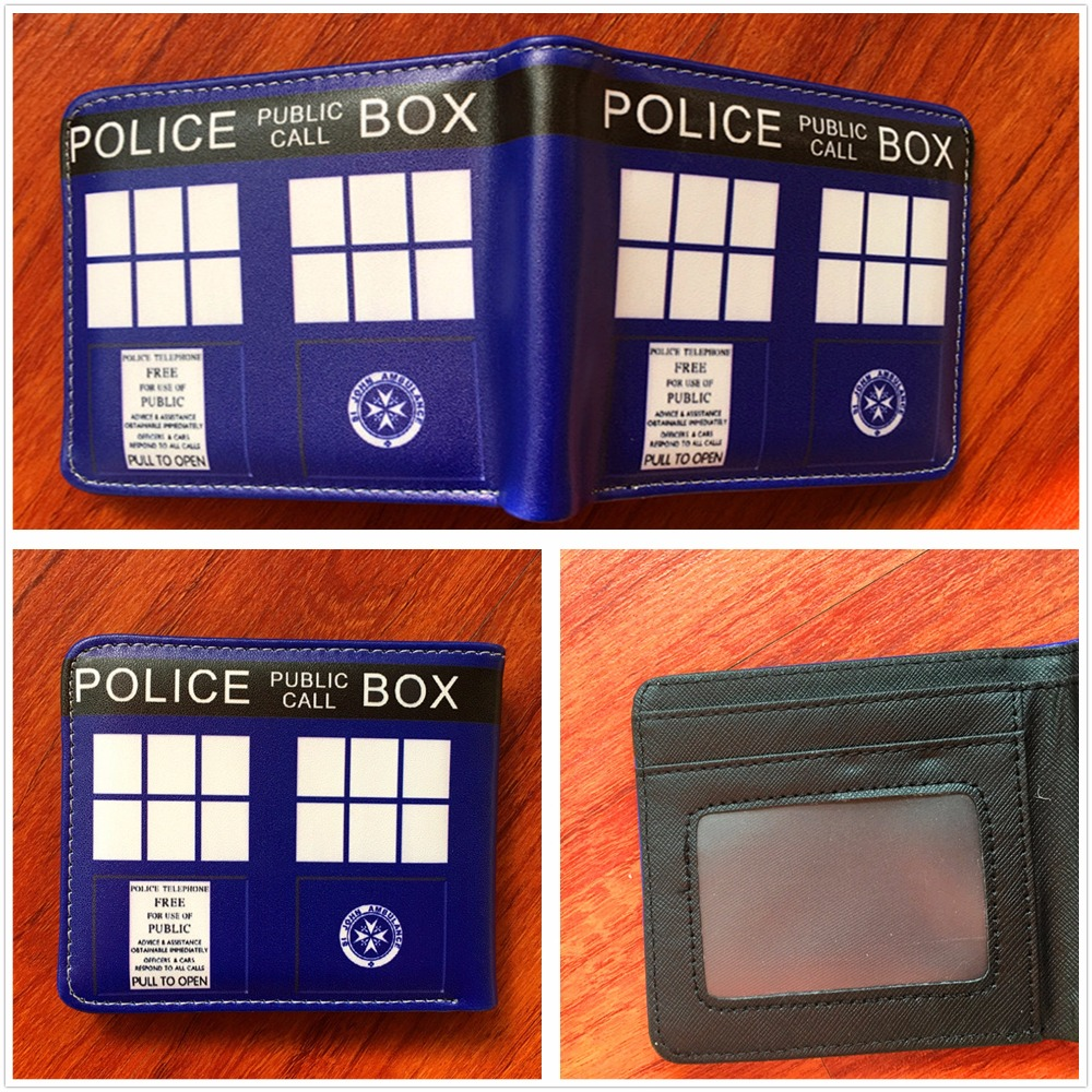 2018 New Arrive Doctor Who The telephone booth Logo Blue wallets With Card Holder Bag Purse Leather W508