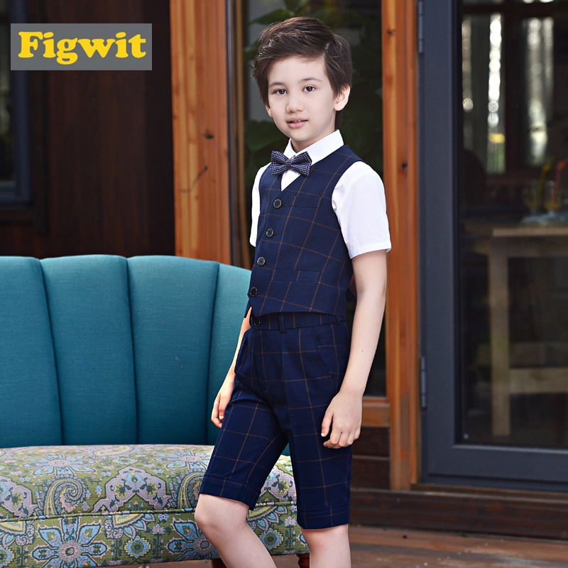 Figwit Kids Boy Suit Vest Set Children Clothing Set Communion Party School Performance Wedding Teenagers Age 7 9 11 13 15 Years