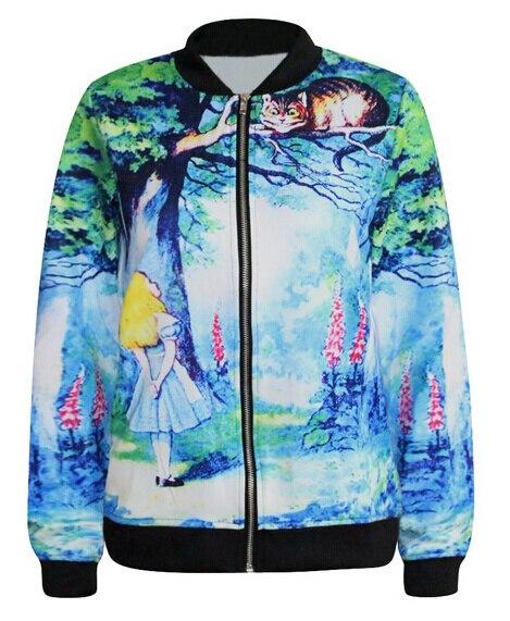 SexeMara KNITTING J023 New Long Sleeve Women Autumn Jackets Alice in Wonderland Print Zipper Coat Cartoon Patterns Outerwear