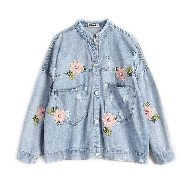 f3d73fe0cb6 2019 Light Blue Beading Embroidery Denim Jacket Women Pearls Floral Green  Leaves Embroideried Women s Jeans Coat Short Overwear