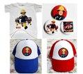 НОВАЯ МОДА пожарный сэм мальчик ОДИН КОМПЛЕКТ одежды конкурентоспособная цена Футболки Значок шляпа солнца 3 ШТ. КОМПЛЕКТ БЕСПЛАТНАЯ ДОСТАВКА