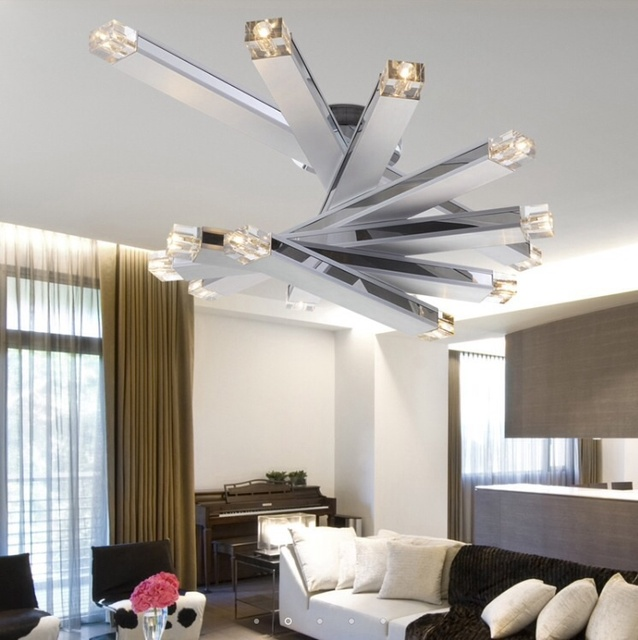 fashion led crystal modern simple ceiling light creative living room light with 8 light - Simple Ceiling Lights For Living Room