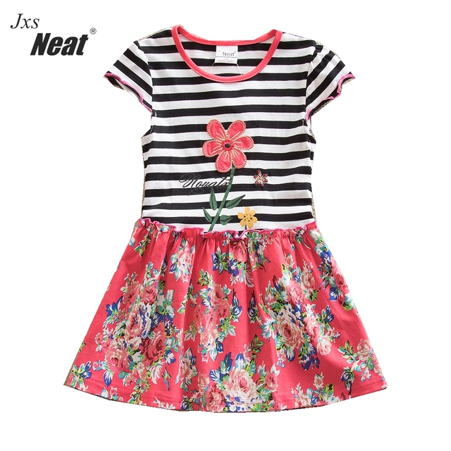 f9459ca10 Baby girls summer dress NEAT o neck cotton girl clothes flower ...