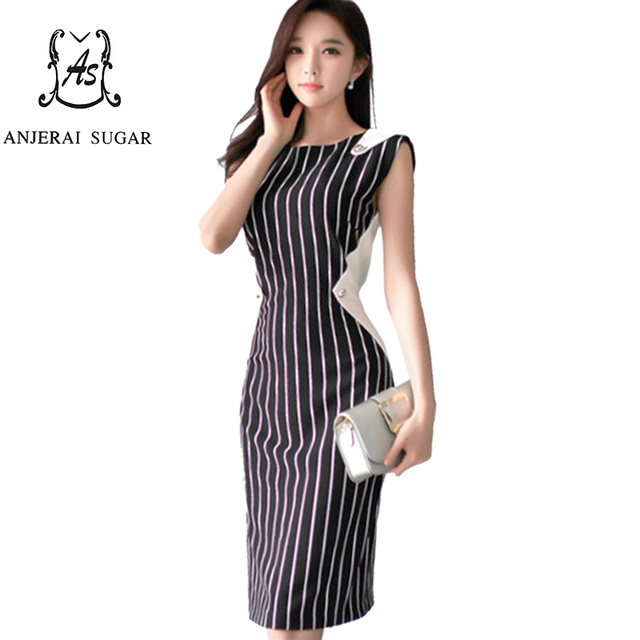 Summer dress women vestidos mujer black white stitching sexy O-Neck vest OL office slim package hip Bodycon party striped dress