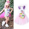 Lzh mamelucos de los bebés dress niños imprimir lentejuelas tutu dress princesa de las muchachas 1 año birthday party dress playa del verano del bebé ropa