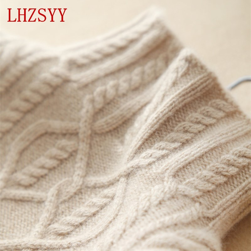 LHZSYY Sweater Women 's Cashmere Knit Jacket Autumn Winter Housewife Sweater High Collar Sweater Standard Pullover S XL