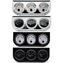 Температура воды масла давление Вольт Калибр 52 мм 3 в 1 тройной Калибр комплект черный/хром ободок Черный/Белый лицо с Temp& датчик давления