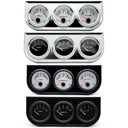 Temperatura wody wskaźnik ciśnienia oleju Volt Gauge 52mm 3 w 1 zestaw Triple Gauge czarny/chrom Bezel czarny/biały twarz z czujnikiem temperatury i ciśnienia