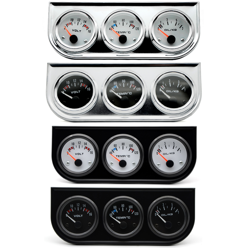Water Temp Oil Pressure Volt Gauge 52mm 3 in 1 Triple Gauge Kit Black/Chrome Bezel Black/White Face With Temp&Pressure Sensor dragon gauge car triple guage 52mm voltage water temp celsius or fahrenheit oil press black chrome bezel 3 in 1 kit meter
