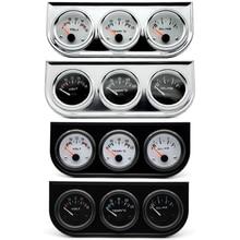 Water Temp Oil Pressure Volt Gauge 52mm 3 in 1 Triple Gauge Kit Black/Chrome Bezel Black/White Face With Temp&Pressure Sensor