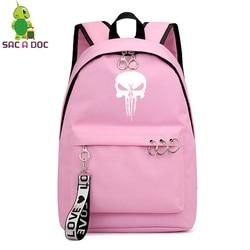 Punisher kobiet torby Mochila Escolar Feminina Plecak Szkolny Plecak Szkolny dziewczyny plecaki panie książka torby torba na laptopa torba na co dzień 4