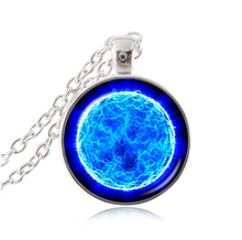 blue space necklace silver plated chain necklace glass cabochon galaxy pendant planet statement necklaces nebula neckless HZ1