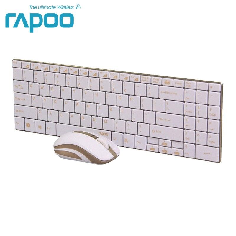 Оригинал Rapoo 9160 ультра-тонкий Беспроводной клавиатура Мыши Combo 2.4 г Беспроводной Мыши для клавиатуры Apple Стиль Mac PC золото
