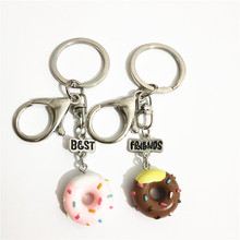 Fashion 2 Pcs/lot BFF Doughnut Keychain Set for Girls Cute Best Friends Forever Wholesale Key Ring Llaveros Para Mujer Jewellery