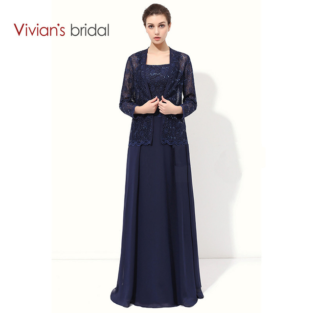 Vivian S Bridal Lace A Line Mother Of The Bride Dresses With Jacket Chiffon Formal