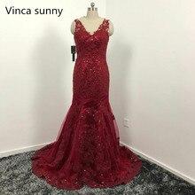 Sexy Vestido de Noche Largo 2017 Sheer O-cuello de Baile Vestido de Sirena Roja Vestidos De fiesta Vestidos de Fiesta de Lentejuelas Formal Robe de soiree