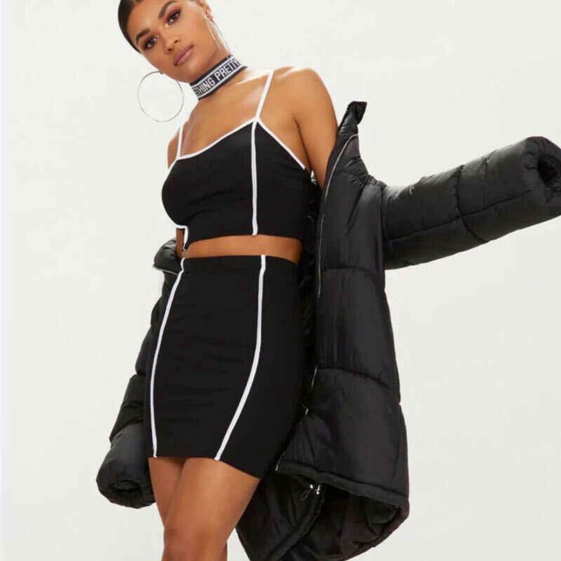 2019 dwuczęściowy zestaw lato sukienka kobiety czarny Tank Top + spódnica ołówkowa Bodycon Party klub Mini sukienki 2 sztuk zestawy