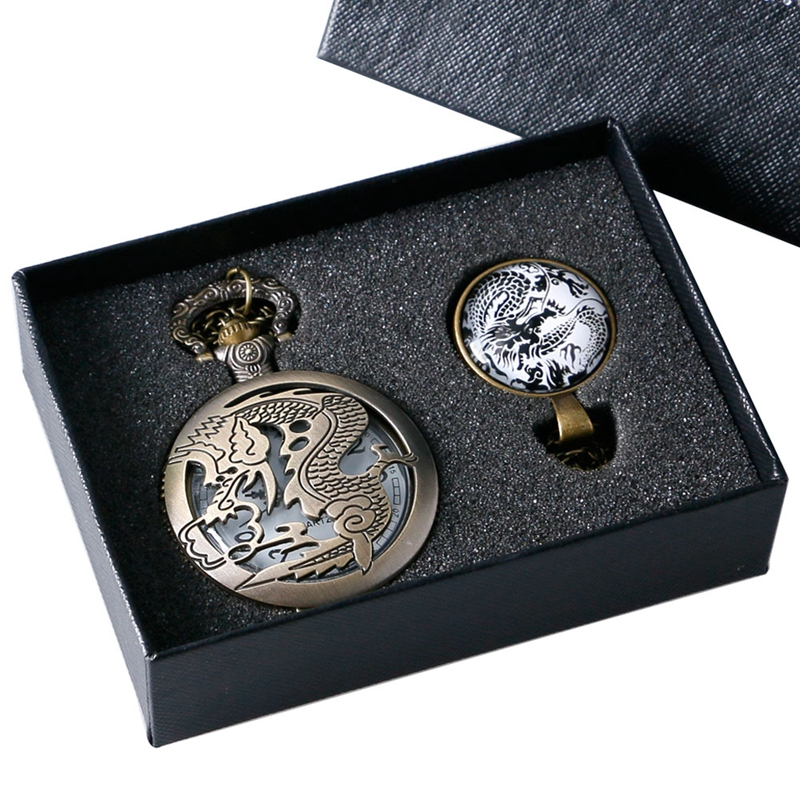 Sreampunk Men's Fiery Dragon Fire Hollow Vintage Bronze Quartz Analog Pocket Watch Gift Set Necklace Pendant for Boy + Watch Box
