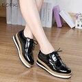 EOFK Весна Кожа Женщины Плоские Туфли на платформе Акцентом Старинные Обувь Для Женщин Лакированной Кожи Женский Дерби Обувь