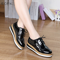EOFK Spring Leather Women Flat platform Shoes Brogue Vintage Shoes For Women Patent Leather Female Derbies Footwear