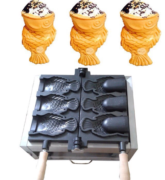 110V 220V electric ice cream taiyaki fish waffle machine, 3pcs open mouth korean ice cream fish waffle maker taiyaki maker with ice cream filling taiyaki machine for sale ice cream filling to fish shaped cake fish cake maker