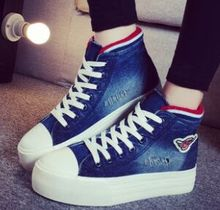 Free shipping summer heavy-bottomed high-top lace denim shoes muffin bottom canvas shoes student