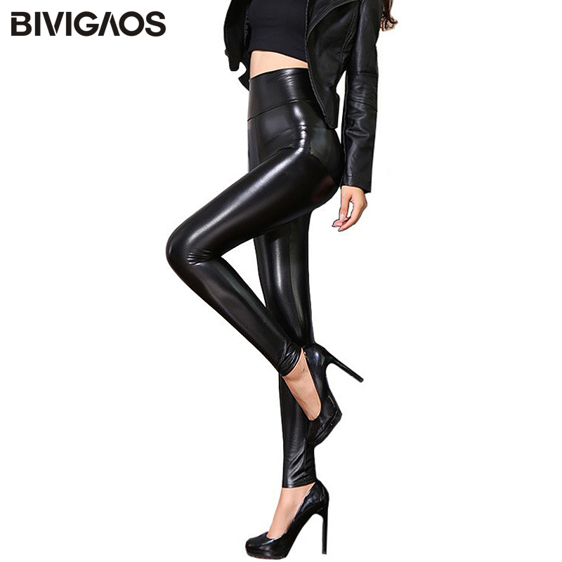BIVIGAOS Fall Winter Women's Fleece Black Leather Pants Female PU   Leggings   Slim Skinny High Waist PU   Leggings   Trousers For Women