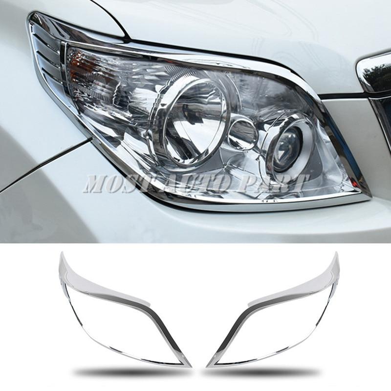 Revêtement d'habillage de lampe de phare avant de Chrome d'abs pour Toyota Prado FJ150 2010-2013