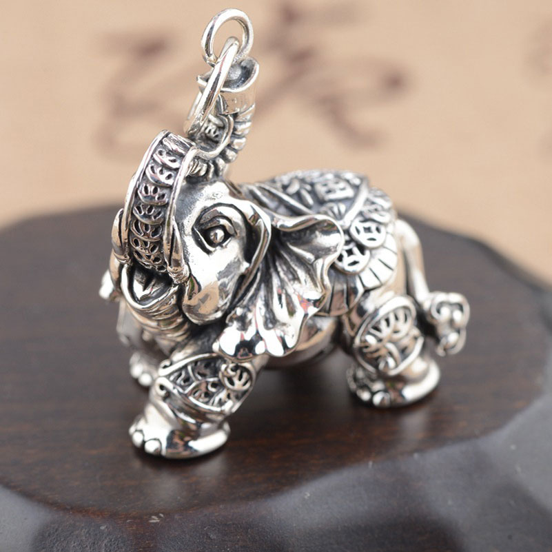 FNJ 925 Silver Elephant Pendant Good Luck Coins 100 Pure S925 Solid Thai Silver Pendants for