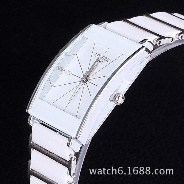 LONGBO Luxury Ceramic Steel Fashion Rhinestone Sports Wrist Watch Quartz Stripe Numerals For Women Dress Relogio