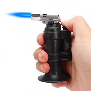 Image 2 - ホットバーベキュートーチターボライタースプレーガンジェットブタンライターキッチンタバコ 1300 c 火災防風ライターなしガス