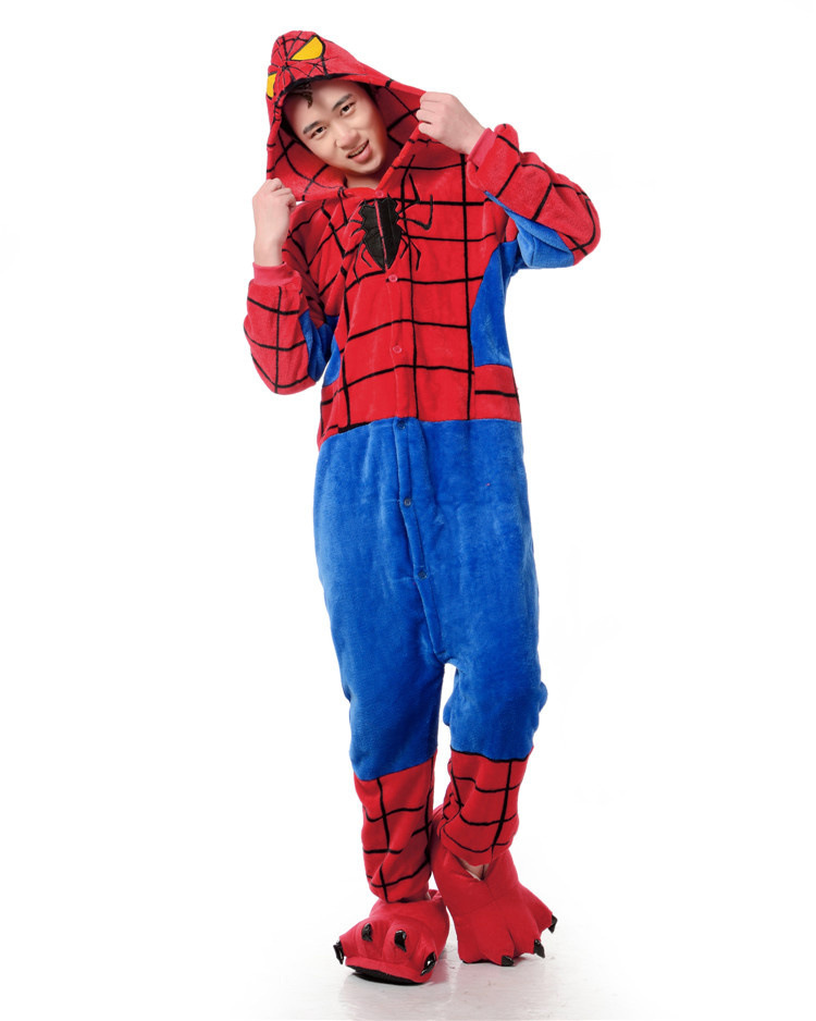 Spider Man Costume One Piece Pajama Onesies For Adult Cute -9136