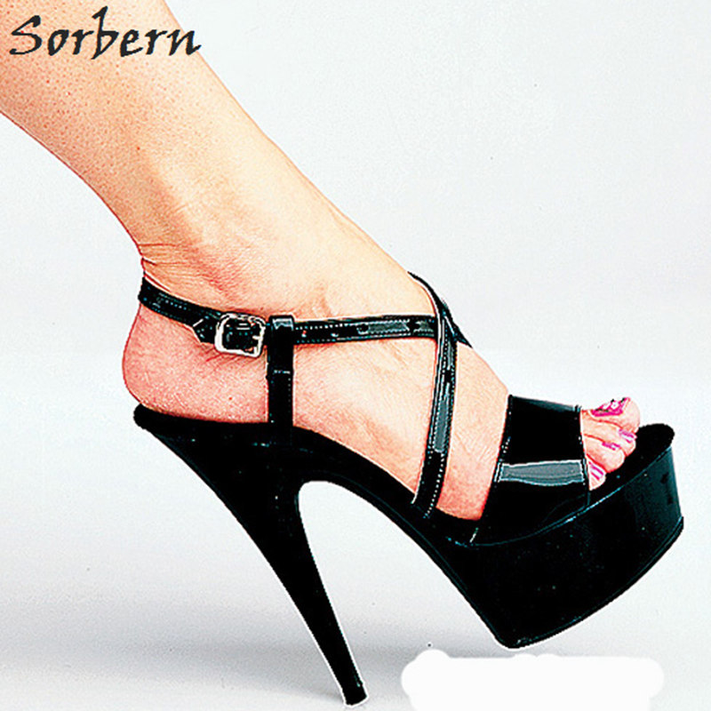 Sorbern Ladies Dress Sandals For Party Patent Leather Summer Shoes For Women High Fashion Platform Sandals Size 9 Open ToeSorbern Ladies Dress Sandals For Party Patent Leather Summer Shoes For Women High Fashion Platform Sandals Size 9 Open Toe