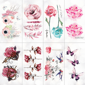 10.5x6cm Flowers rose lotus Design Fashion Temporary Tattoo Stickers Temporary Body Art Waterproof Tattoo Pattern Wholesales