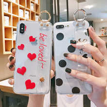 Soft TPU Silicone Wristband Case For iphone X XR XS Max Transparent Strap Love Heart Dots Cover Coque 6 6S 7 8 Plus