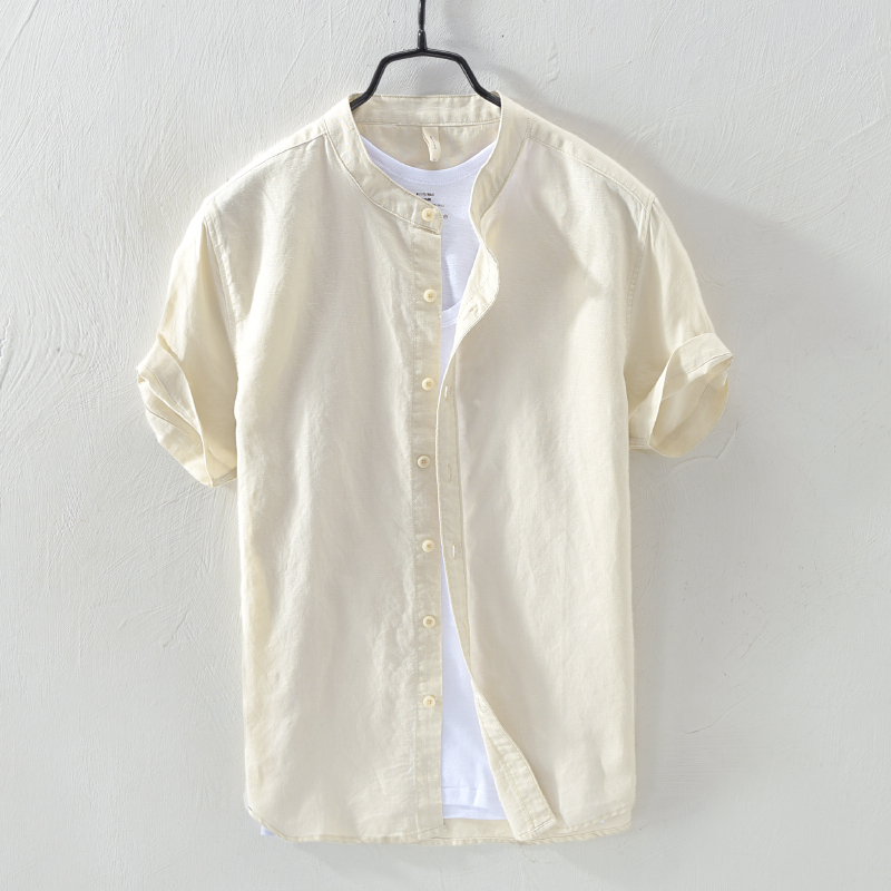 Suehaiwe's Brand Short Sleeve Linen And Cotton Shirt Men Solid Khaki Stand Collar Shirt Male Breathable Summer Clothing Chemise