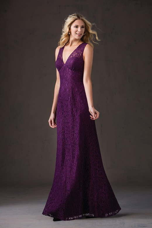 Fw169 Vnaix Purple Long Bridesmaid Dresses 2017 New Design Lace Deep V Neck Sheer Back Women Wedding Guest Dress Summer In From
