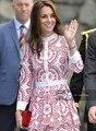 Мода Кейт Миддлтон Принцесса Красный Цветок вышивка С Длинным Рукавом Женщин Каскадных Ruffle Dress
